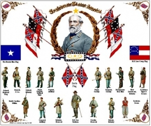 Tin Sign War General Lee and Soldiers
