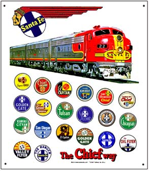 Tin Sign Santa Fe Train Logos