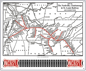 Tin Sign NC&StL System map 1941