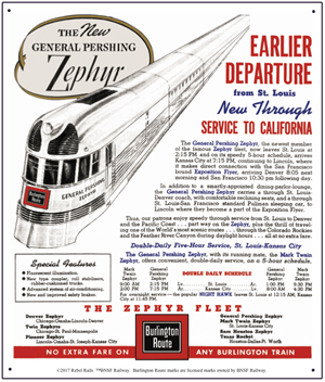 Tin Sign General Pershing Zephyr Ad